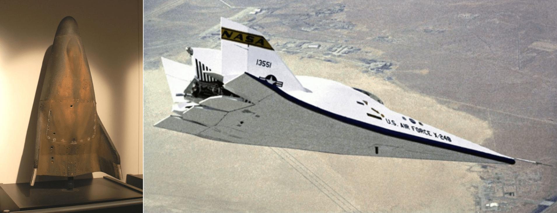 L'unico dei tre Martin X-23 PRIME sopravvissuto ai voli di prova ed il Martin Marietta X-24B in volo durante un test. Credits: NASA
