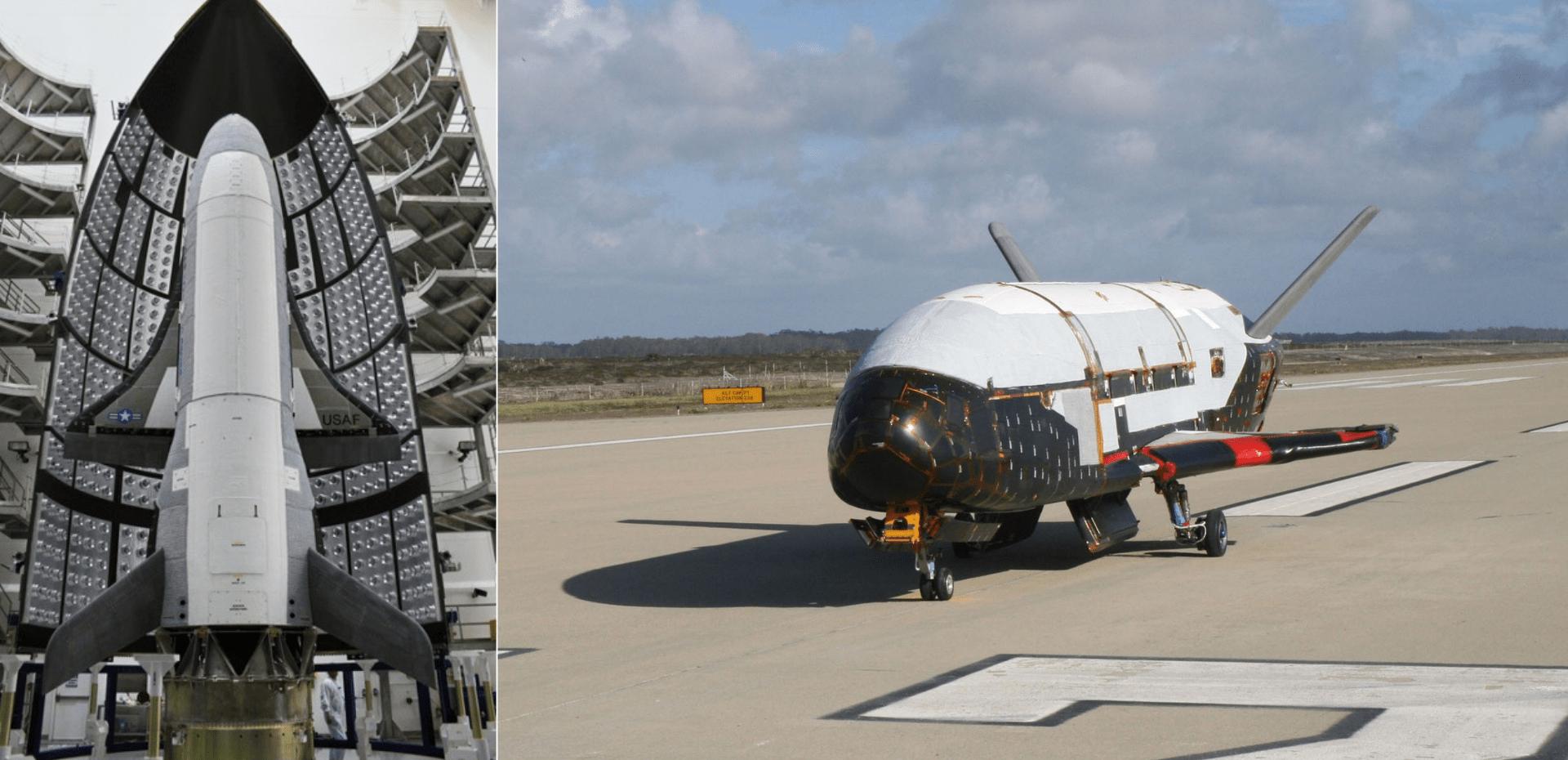 A sinistra l'X-37B Orbital Test Vehicle, sullo sfondo si nota metà del fairing del lanciatore Atlas V. A destra l'X-37B prima di un volo di test. Credits: U.S. Air Force