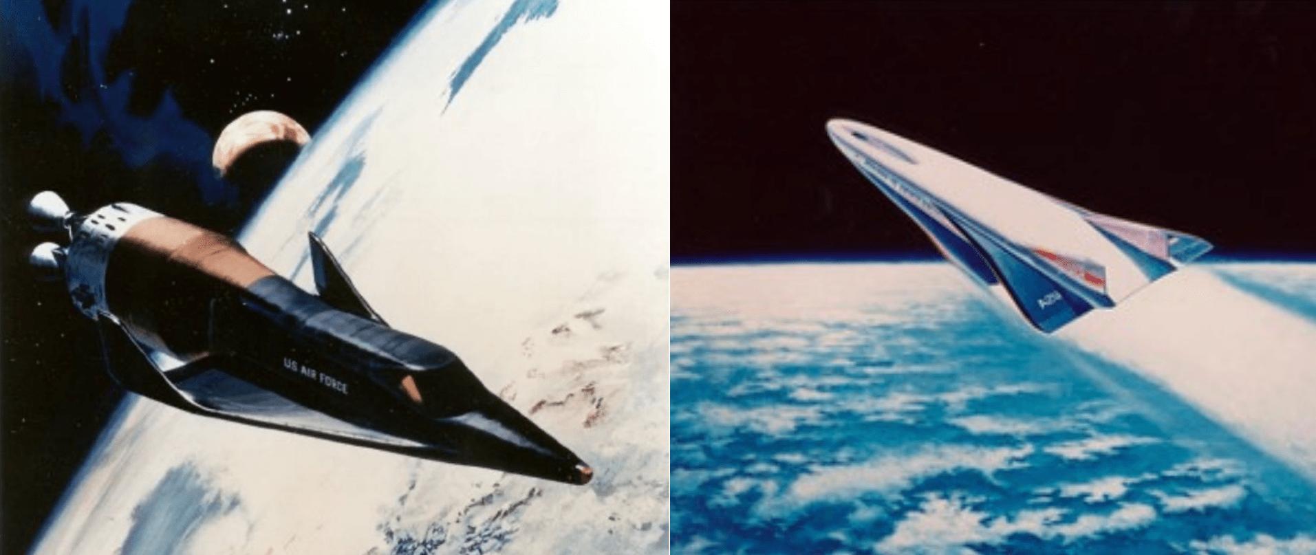 A sinistra una illustrazione artistica dell'X-20 Dyna-Soar in orbita. A destra una Illustrazione artistica del Rockwell X-30 NASP. Credits: U.S. Air Force / NASA