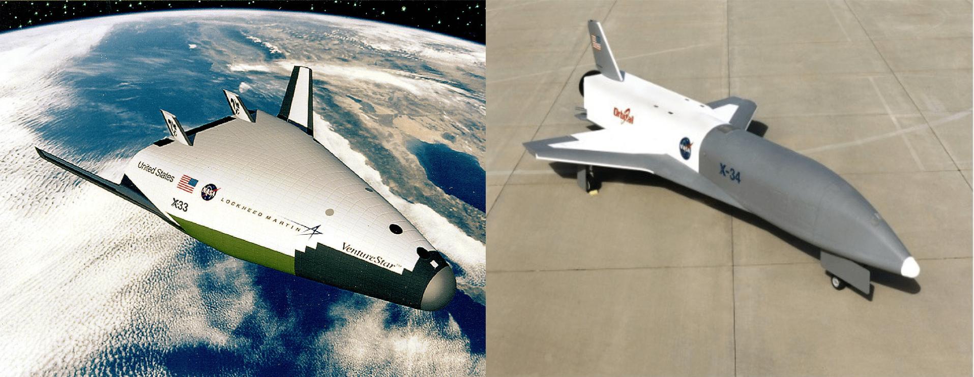 Render del Lockheed Martin X-33 e prototipo (senza motori) dell'Orbital Sciences X-34