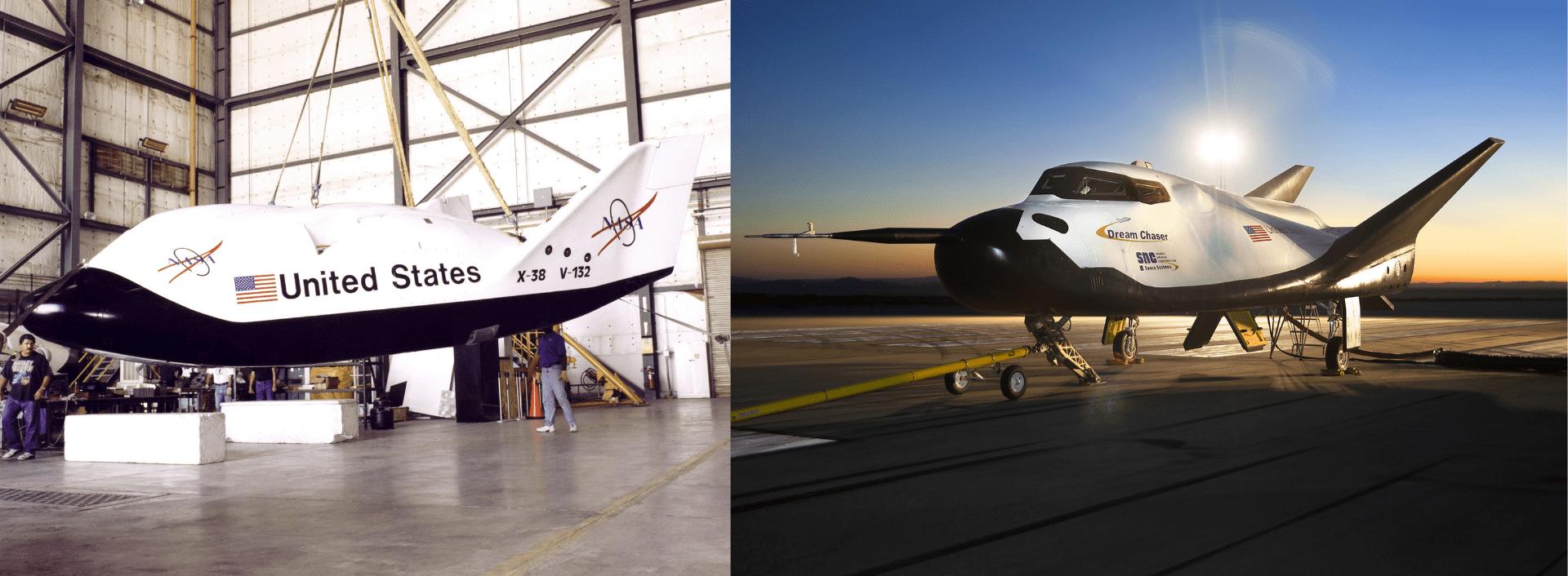 Uno dei prototipi in scala ridotta di X-38, usati per i drop test, all'interno di un hangar nel Dryden Flight Research Center della NASA. A destra il Dream Chaser.