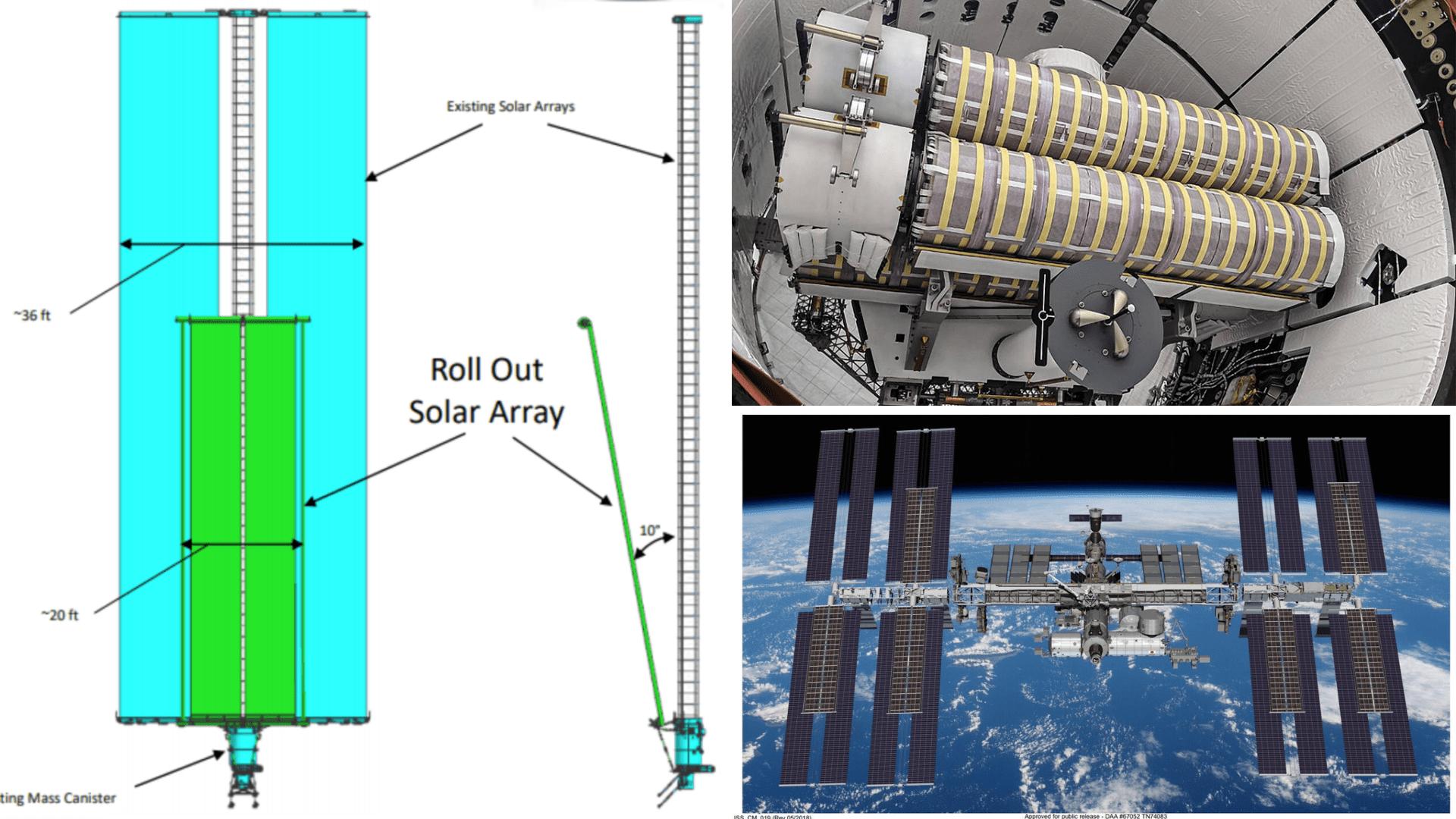 A sinistra uno schema di come saranno posizionati i nuovi pannelli solari rispetto ai vecchi. In basso a destra un render di come sarà con entrambi i pannelli montati sulla ISS. A destra in alto i pannelli solari montati nel Truck della Dragon. Credits: NASA/SpaceX.