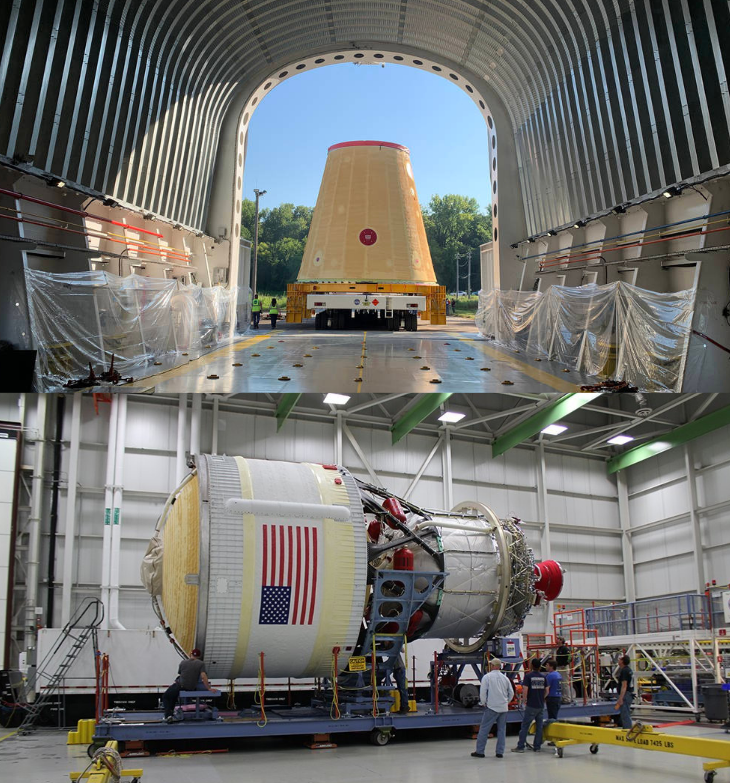 Nell'immagine sopra il Launch Vehicle Stage Adapter (LVSA), in quella inferiore il Interim Cryogenic Propulsion Stage (ICPS). Credits: NASA.