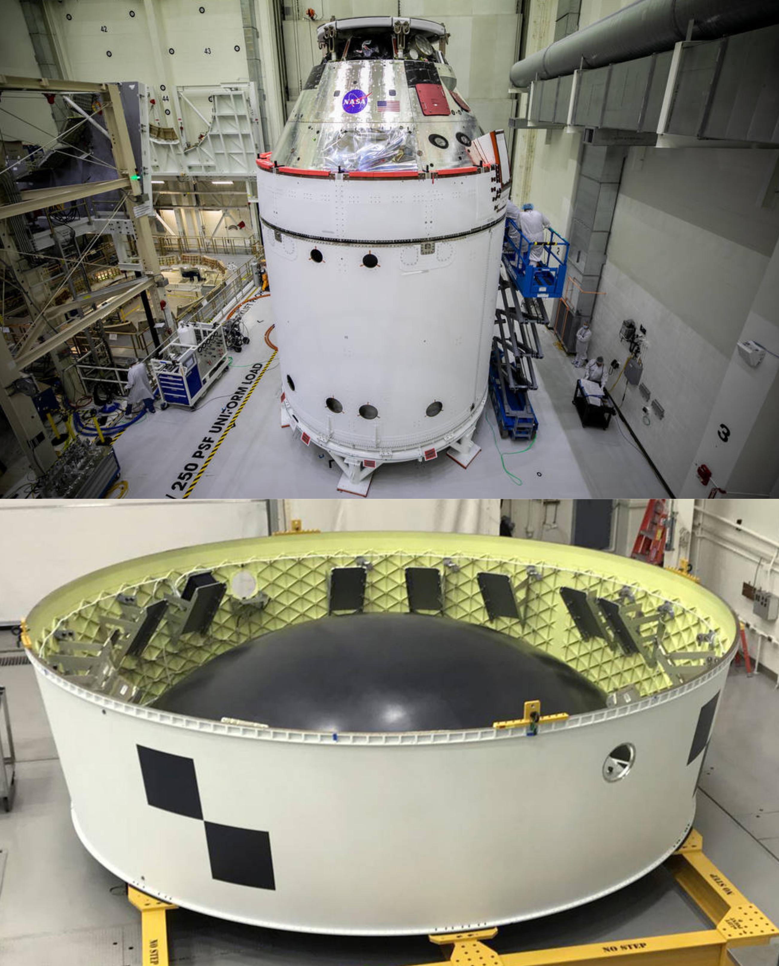 Sopra la capsula Orion di Artemis 1 con il suo modulo di servizio. In basso l'adattatore all'interno del quale (supporti neri) saranno inseriti i 13 satelliti. Credits: NASA.