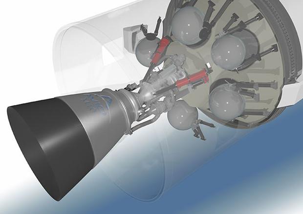 Un render del motore M10 del terzo stadio di Vega-E. Credits: Avio.