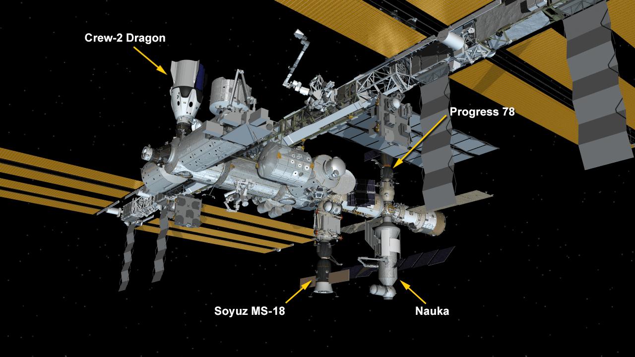 La posizione di Nauka e delle altre capsule a bordo della Stazione ora. Credits: NASA