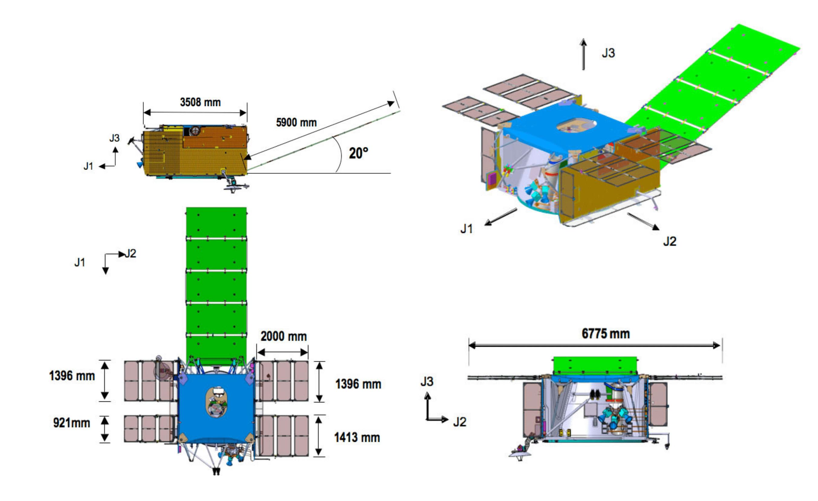 Viste progettuali del BUS del James Webb Space Telescope. In verde il pannello solare principale. Credits: Northrop Grumman