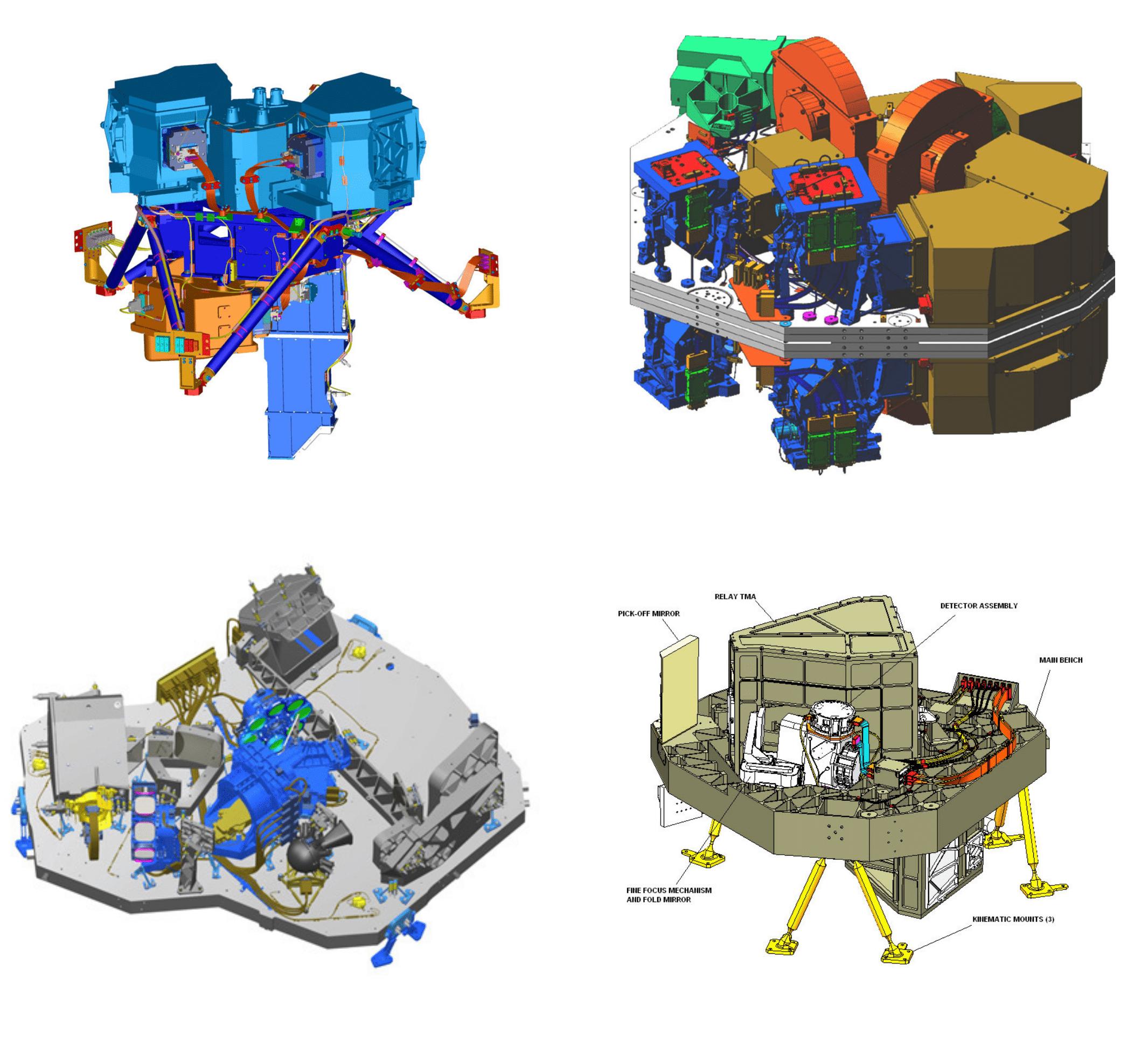 In alto a sinistra il MIRI; In alto a destra la NIRCam; in basso a destra il NIRISS; in basso a sinistra il NIRSpec