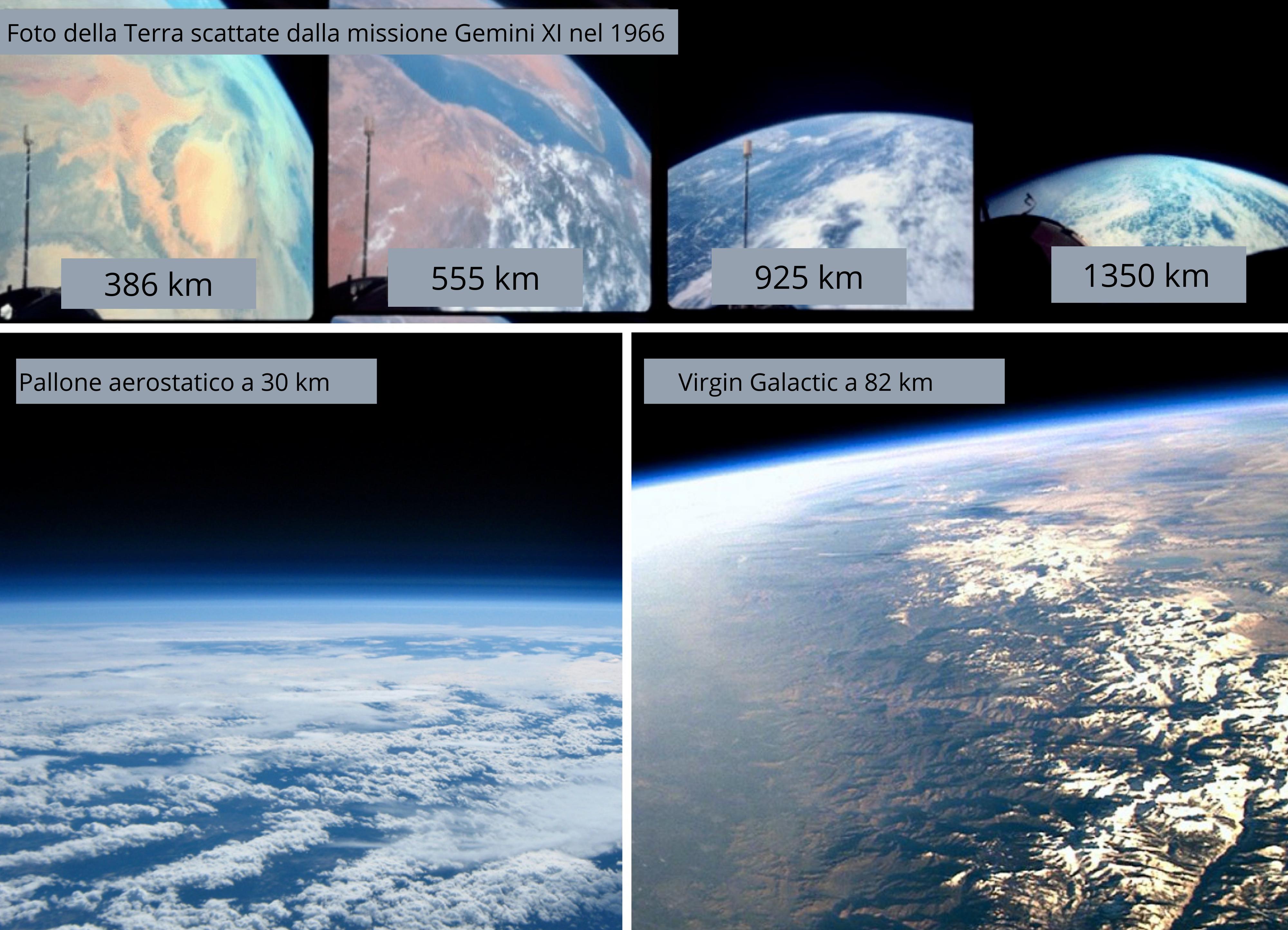 Confronto della vista a varie quote sopra la superficie terrestre. Foto originale: Steve Jurvetson. Traduzione astrospace.it