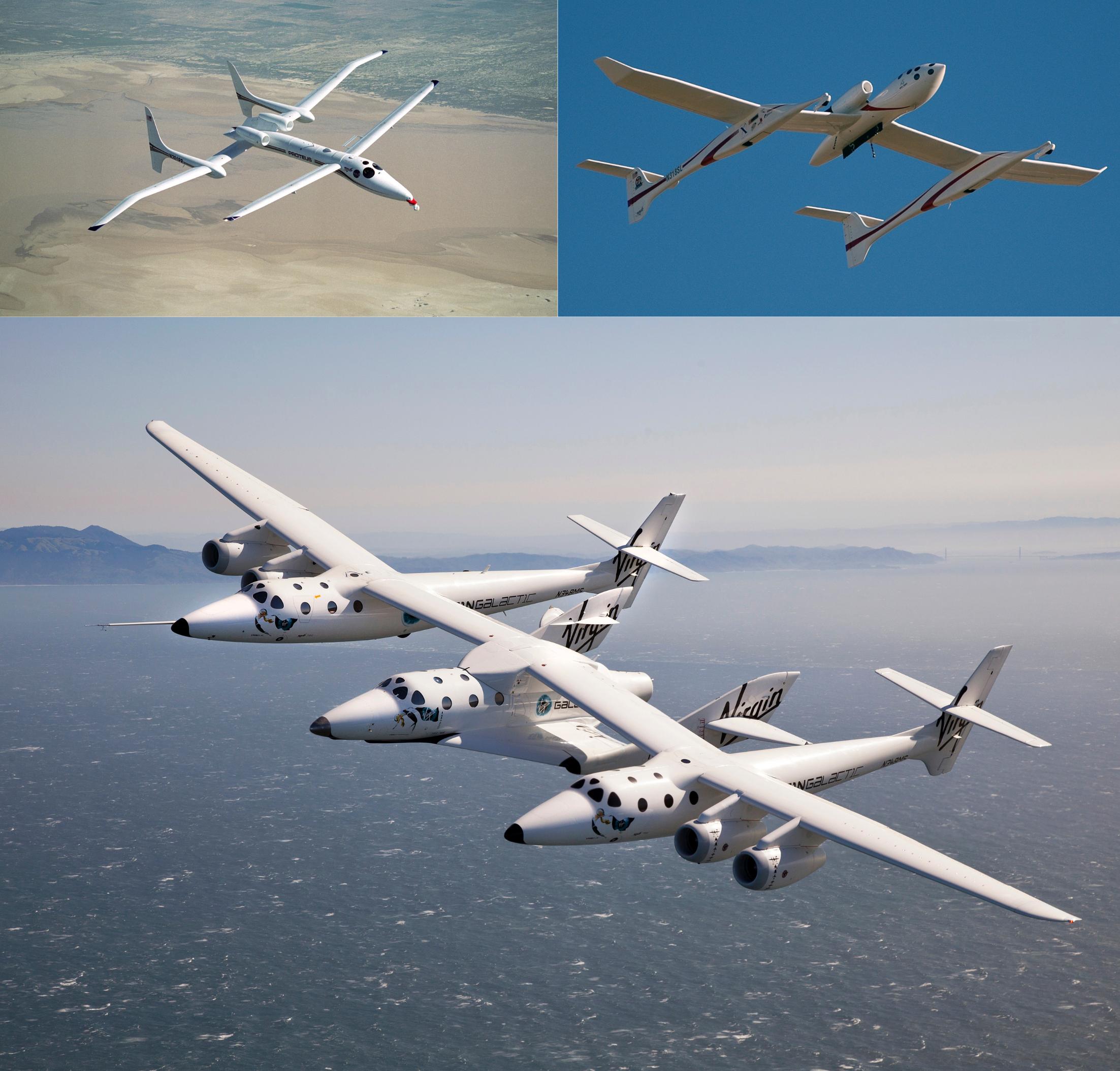 In alto a sinistra il Scaled Composites Proteus durante il suo primo volo nel 1998. In alto a destra il Scaled Composites White Knight One. In basso il White Knight Two con al suo centro attraccata la SpaceShip Two. Credits: Scaled Composites/Virgin Galactic.
