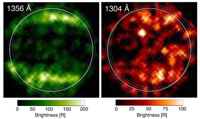 Immagini ultraviolette di Ganimede osservate da Hubble nel 1998. Era la prima prova della presenza di un campo magnetico e della presenza di O2. Credits: NASA/ESA/L.Roth