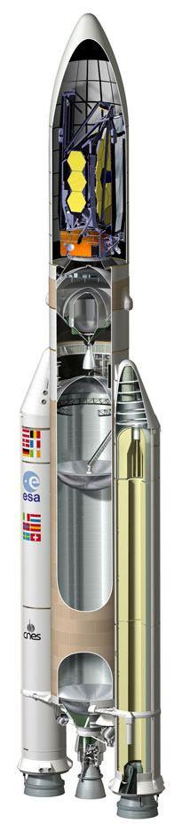 Uno spaccato dell'Ariane V con a bordo il James Webb ripiegato. Credits: ESA-Ariane Space