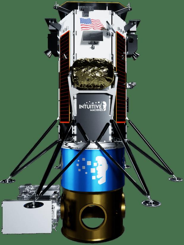 Un render del lander Nova-C della missione IM-3. In basso, i dispenser e sulla destra il posto dove alloggiare l'eventuale carico aggiuntivo del lancio. Credits: Intuitive Machines.