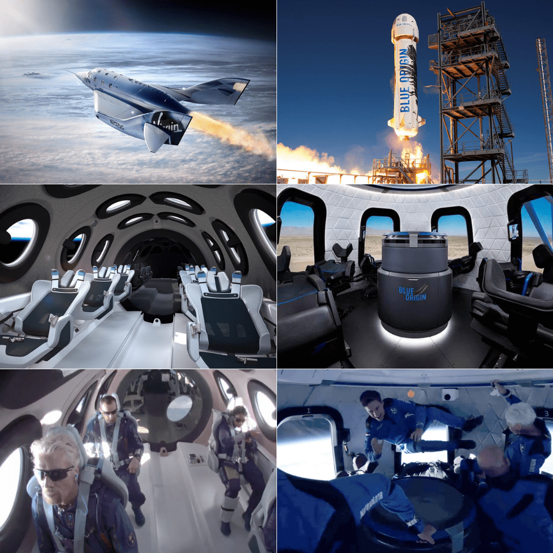 I mezzi e l'esperienza di turismo spaziale offerta da Virgin Galactic (tre immagini a sinistra) e da Blue Origin (tre immagini a destra).