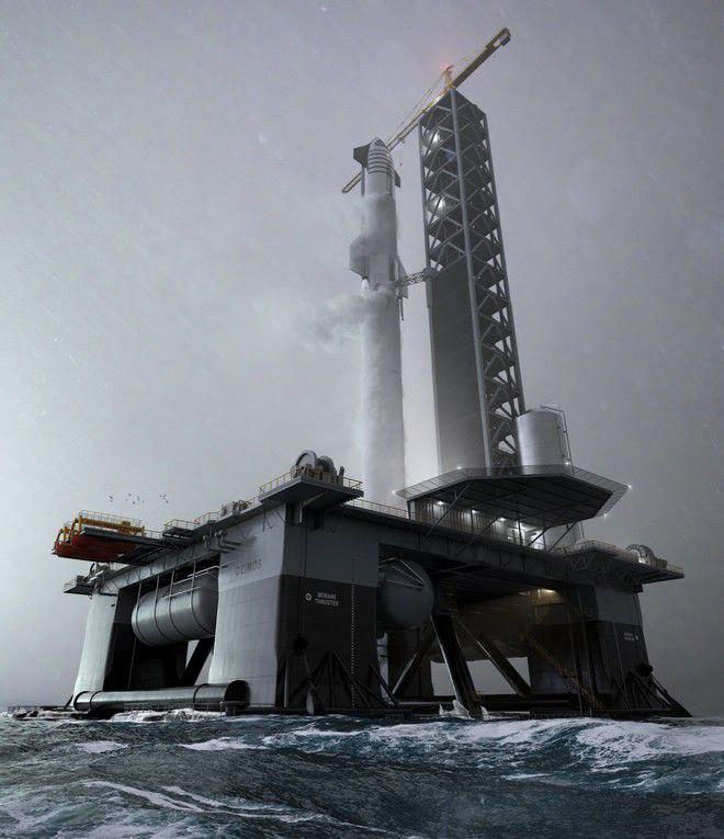 Un render di Starship in partenza dalla piattaforma oceanica di SpaceX.