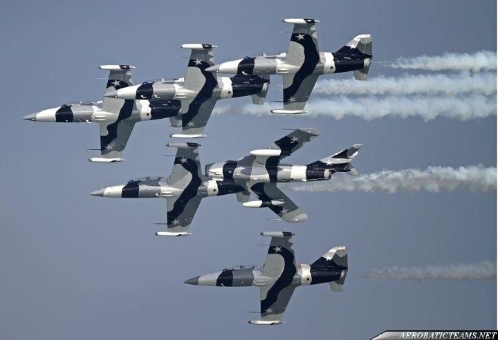 La pattuglia acrobatica di Jared Isaacman Black Diamond Jet Team. E' composta da sei L-39 e da un MiG-17 (al centro). Credits: Aerobaticsteam.