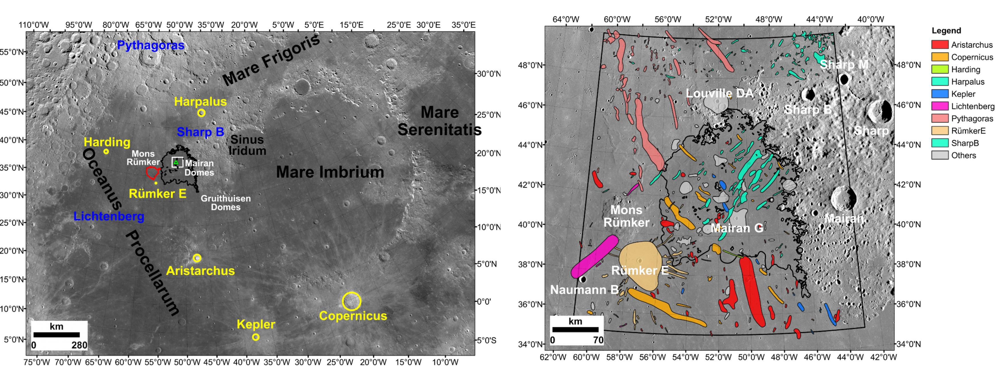 L'immagine a sinistra mostra il sito di atterraggio della sonda Chang'e 5 e i crateri studiati come possibili fonti dei campioni esotici. Sulla destra uno zoom sulla zona di atterraggio di Chang'e 5 con indicati i vari crateri ipotizzati per la provenienza dei campioni esotici. Credits: Qian et al. 2021