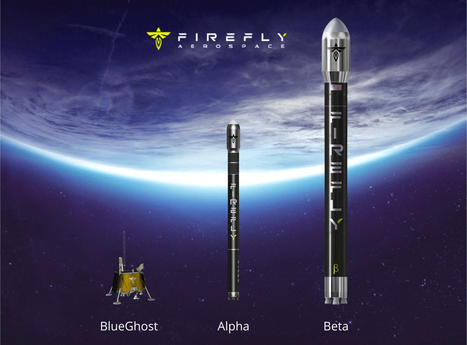 Il lander Blue Ghost, il vettore Alpha e il Beta di Firefly Aerospace. I due vettori sono in scala. Credits: Astrospace.it Modelli: Firefly Aerospace.