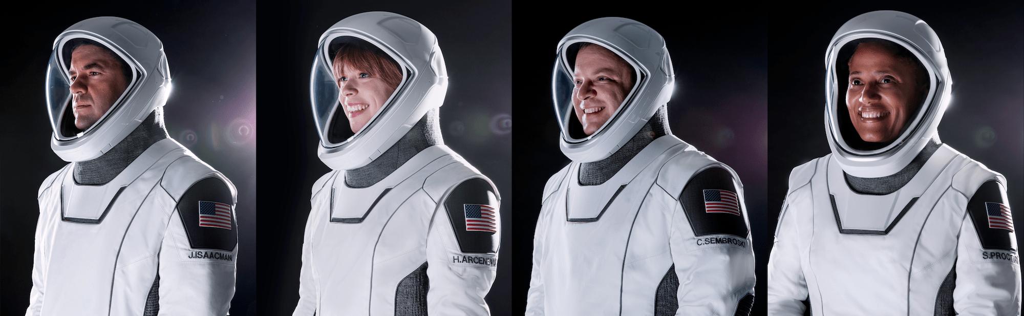 I ritratti ufficiali dei quattro membri di Inspiration4. Credits: SpaceX.