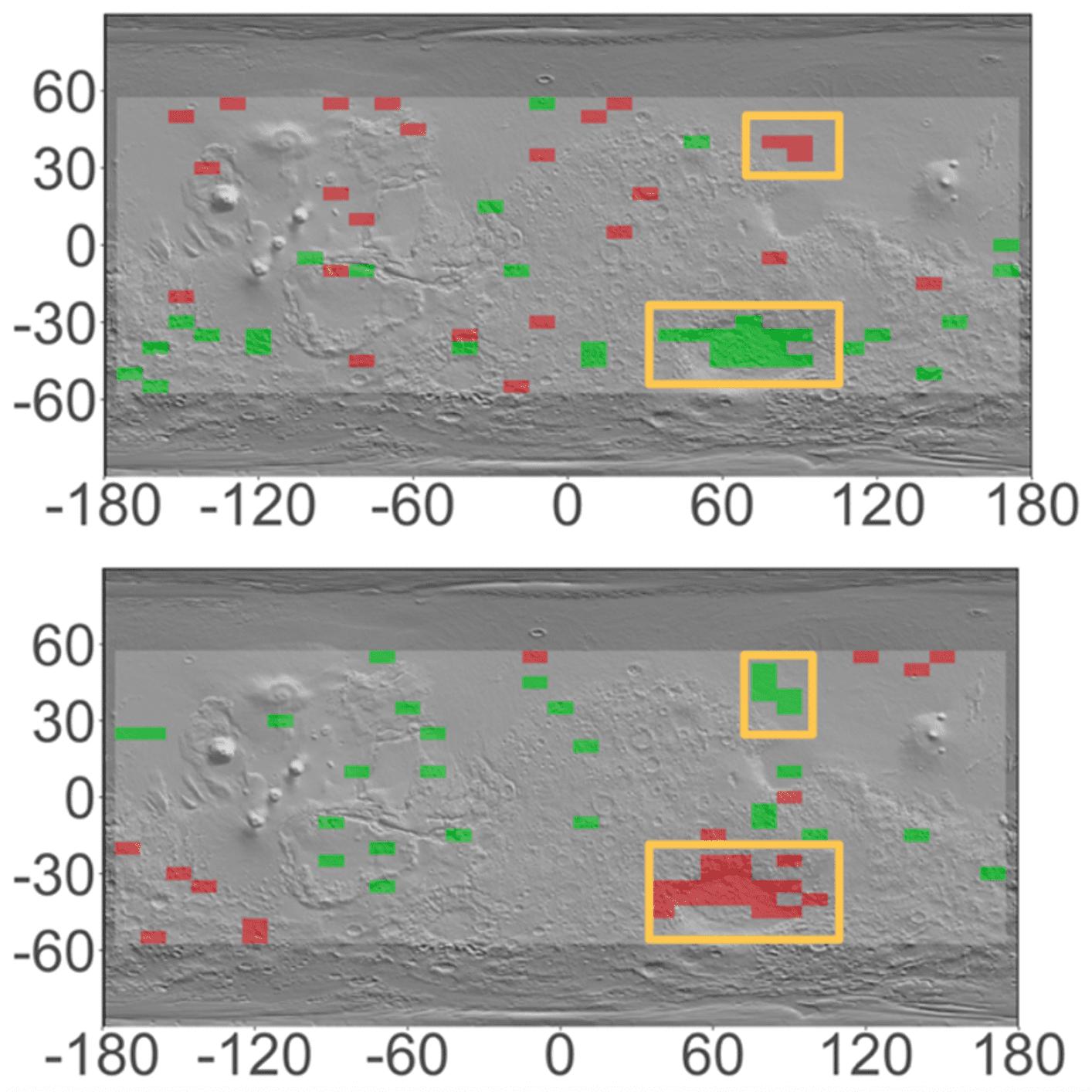 Hellas Planitia e Utopia Rupes variazioni stagionali di idrogeno