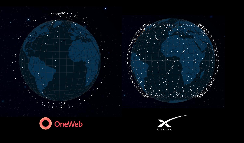 Confronto fra le due costellazioni OneWeb e Starlink aggiornato al 14 settembre, senza gli Starlink lanciati oggi. Credits: SatelliteMap.