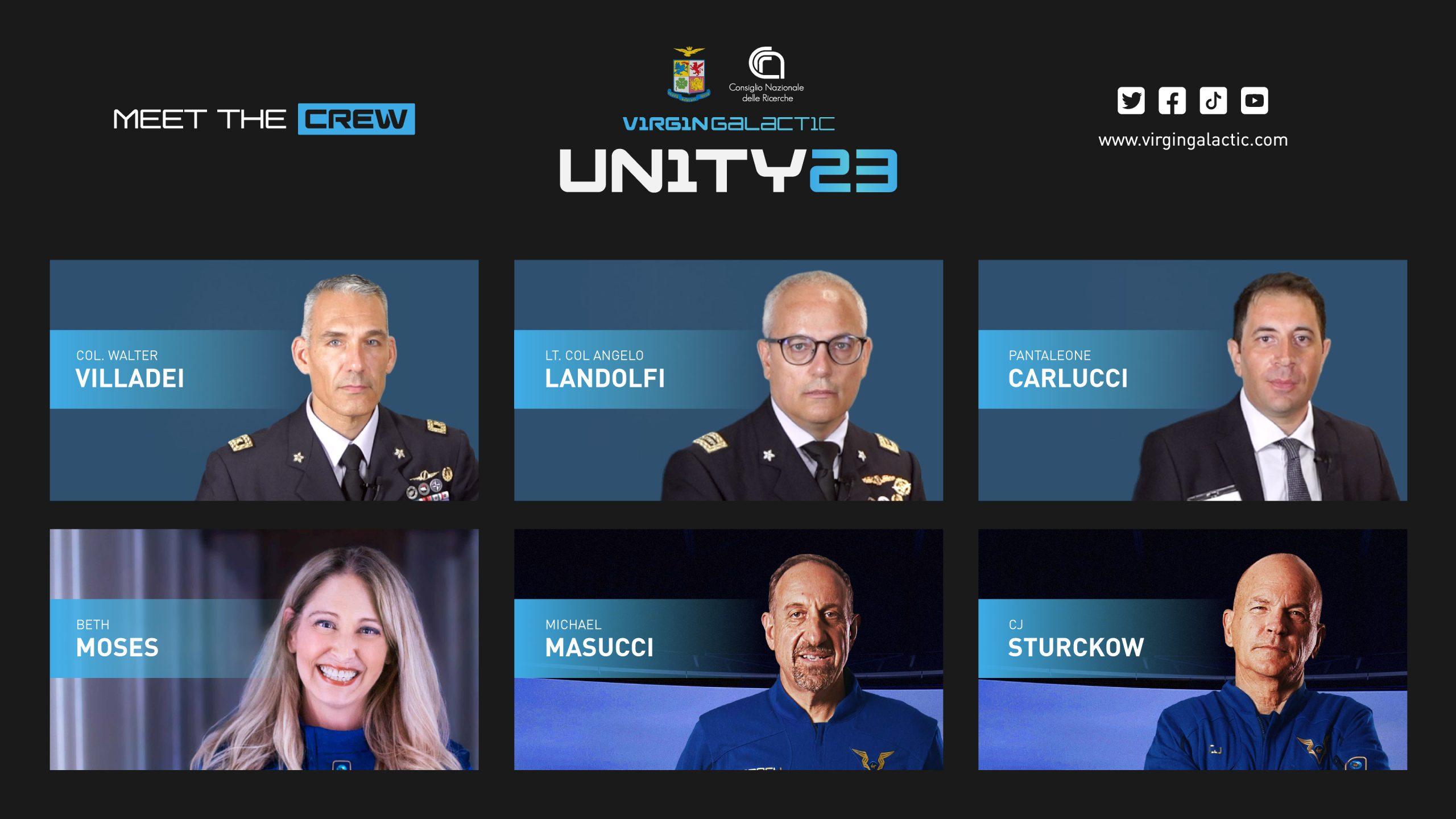 L'equipaggio della missione Unity23. Credits: Virgin Galactic.