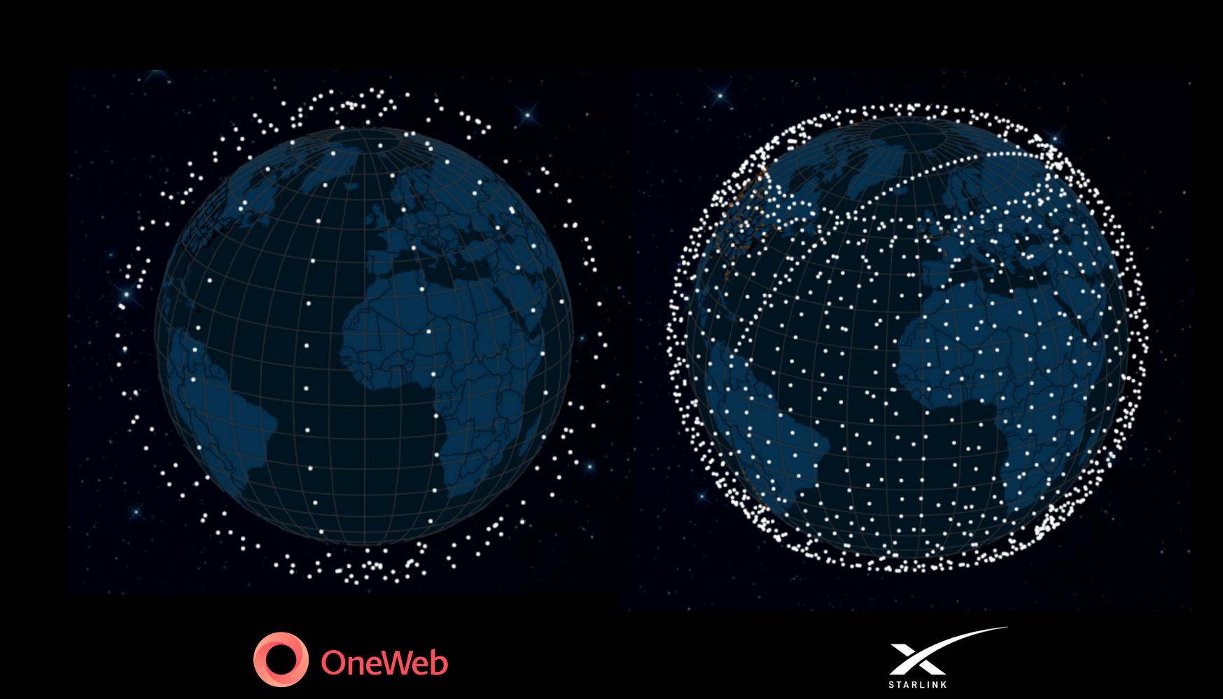 Confronto fra le due costellazioni OneWeb e Starlink aggiornato al 13 ottobre, senza gli Starlink lanciati oggi. Credits: SatelliteMap. India