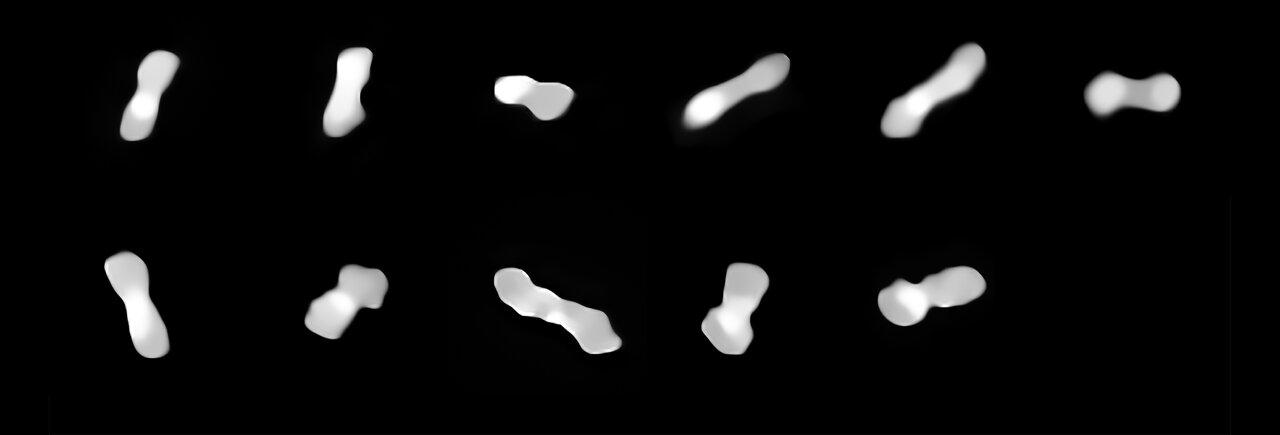 L'asteroide Cleopatra, con la sua particolare forma simile ad un osso per cani. Crediti: ESO/Vernazza, Marchis et al./MISTRAL algorithm (ONERA/CNRS)