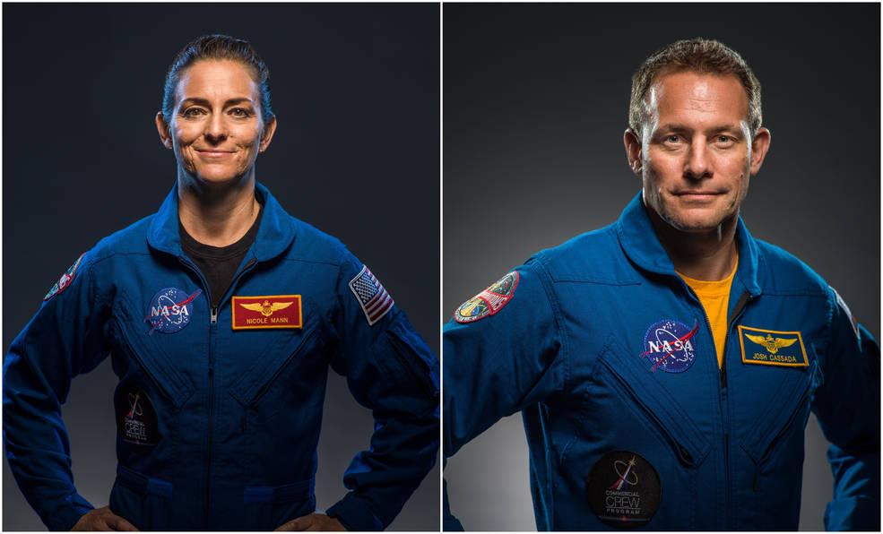Gli astronauti Nicole Mann e Josh Cassada che passeranno dalla Starliner alla Dragon.